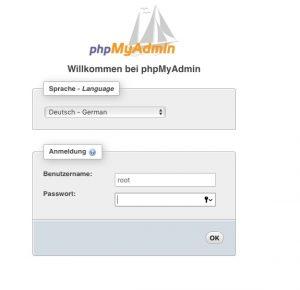 Anmelden an phpMyadmin