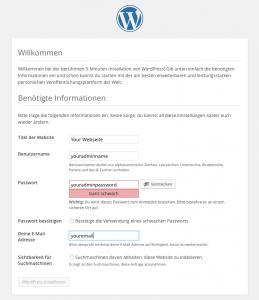 Administrator-Daten für WordPress