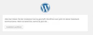 Wordpress Datenbank Erfolgsmeldung
